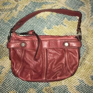 FOSSIL reddish brown leather shoulder bag